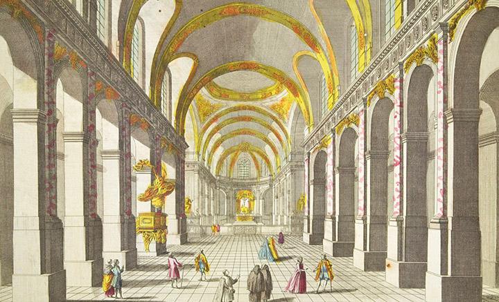 Vista óptica de l'Iglesia Saint-Roch en Paris (Francia)