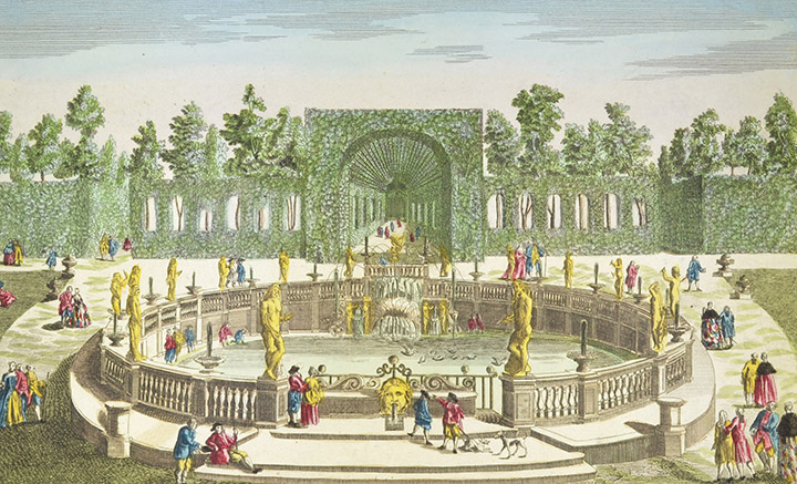 Vista óptica de la Fontana del Prigione en la Villa Montalto en Roma (Italia)