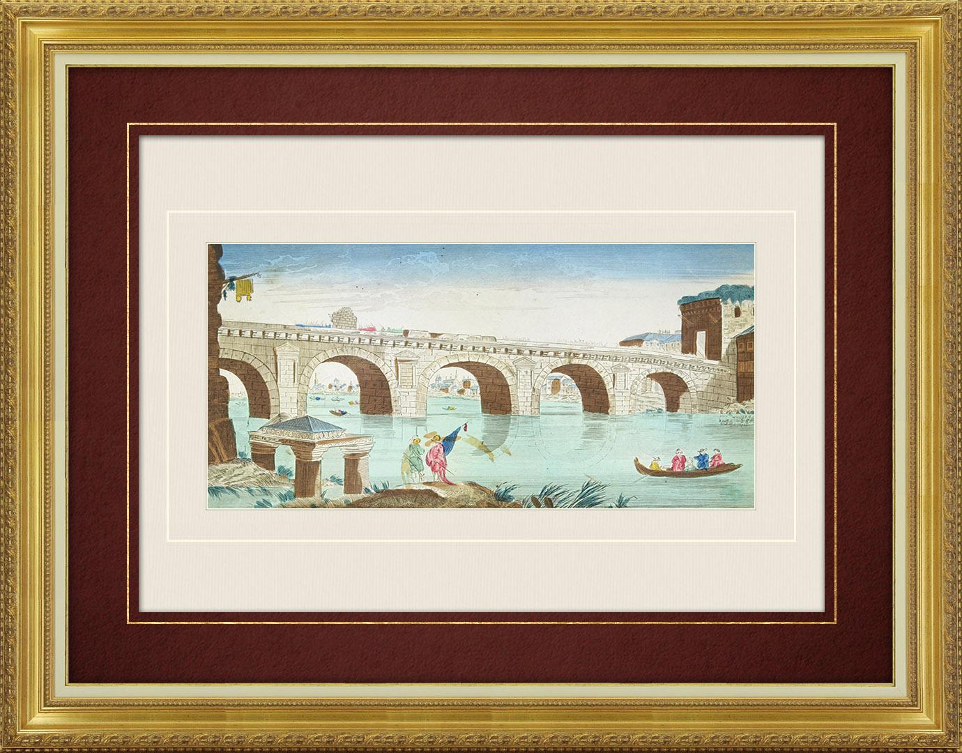 18th Century optical view in original watercolors of Tiberius Bridge in Rimini (Italy)