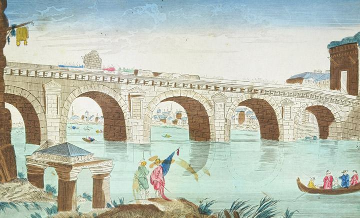 Optical view of Tiberius Bridge in Rimini (Italy)