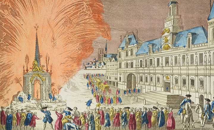 Optical view of a firework in front of Paris City Hall - Treaty of Paris 1763 (France)