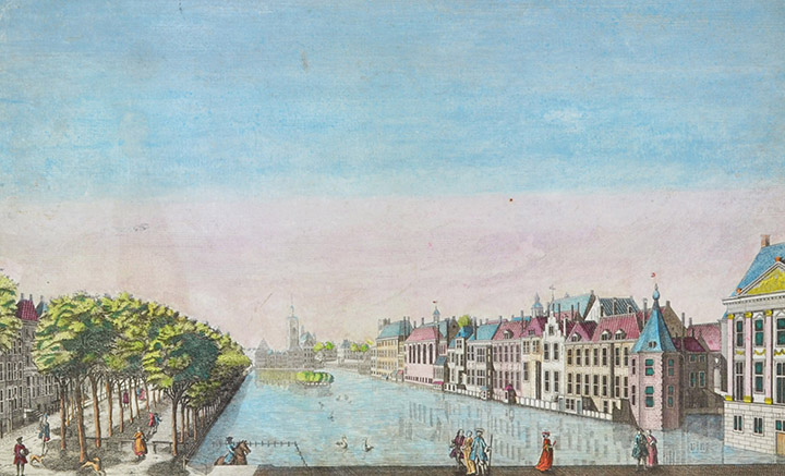 Optical view of Hofvijver in The Hague (Holland)