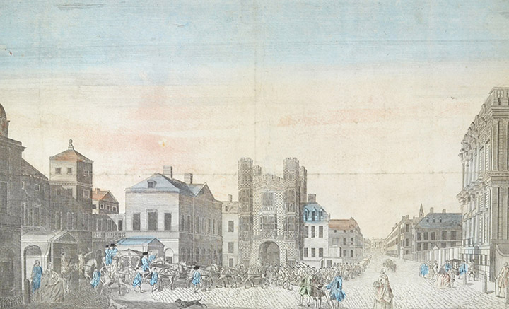 Optical view of the Horse Guards and Banqueting House, Whitehall in London (England)