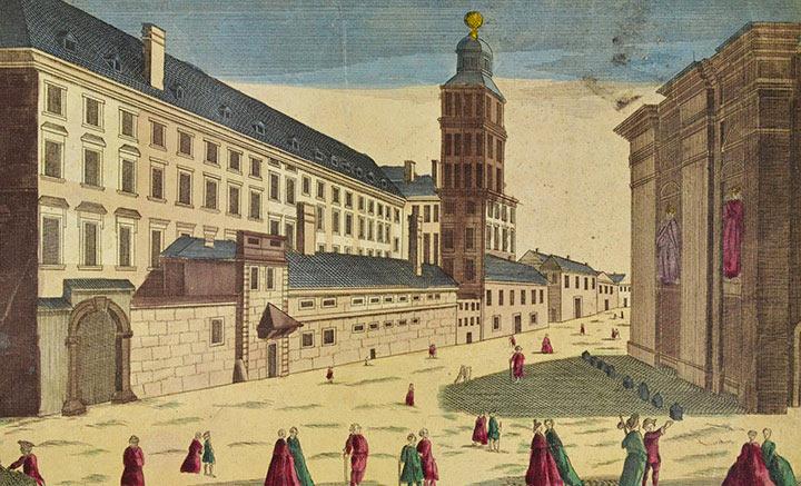 Vue d'optique du Collège Romain des Jésuites et observatoire à Rome (Italie)