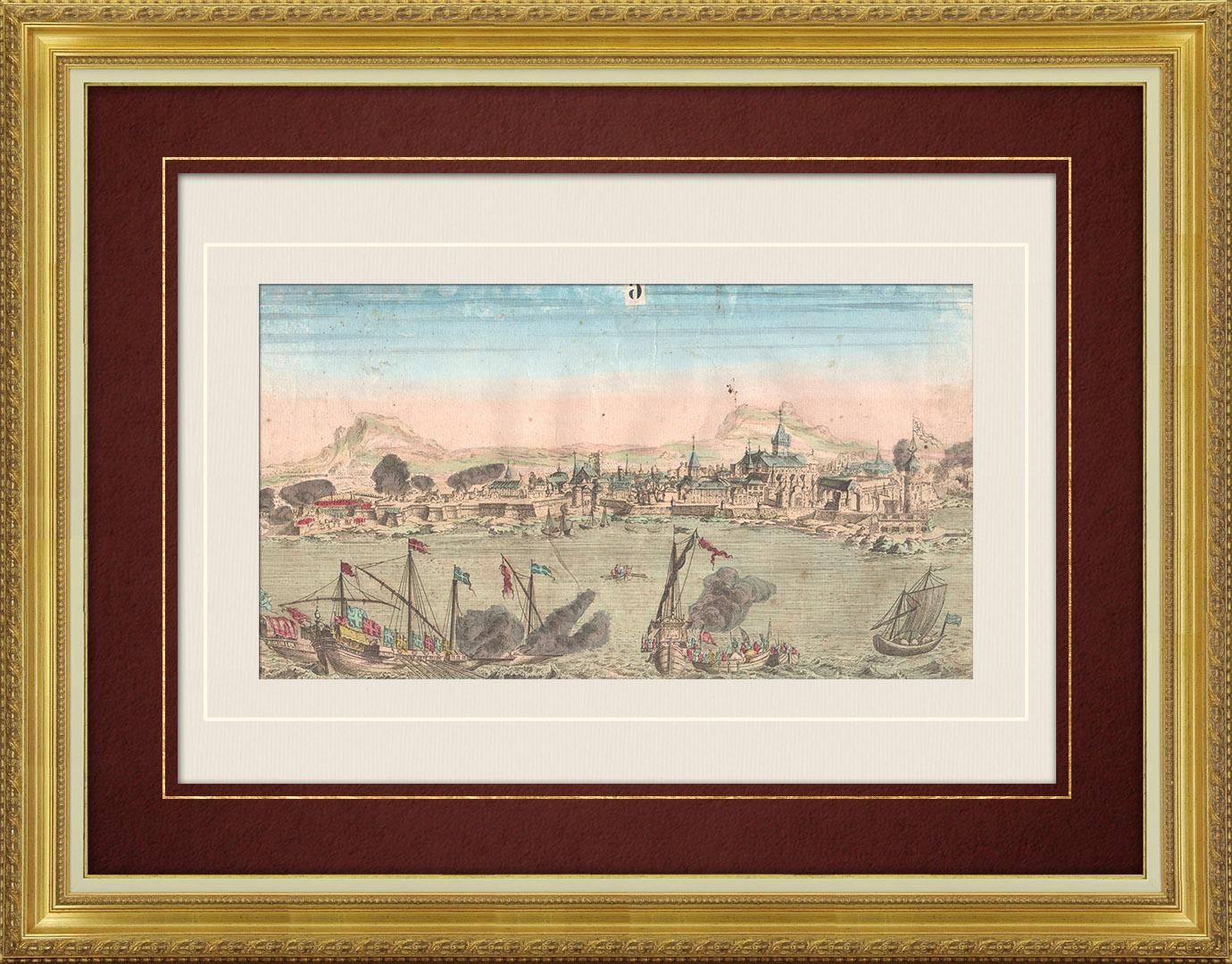 18th Century optical view in original watercolors of Iraklion Island - Crete (Greece)