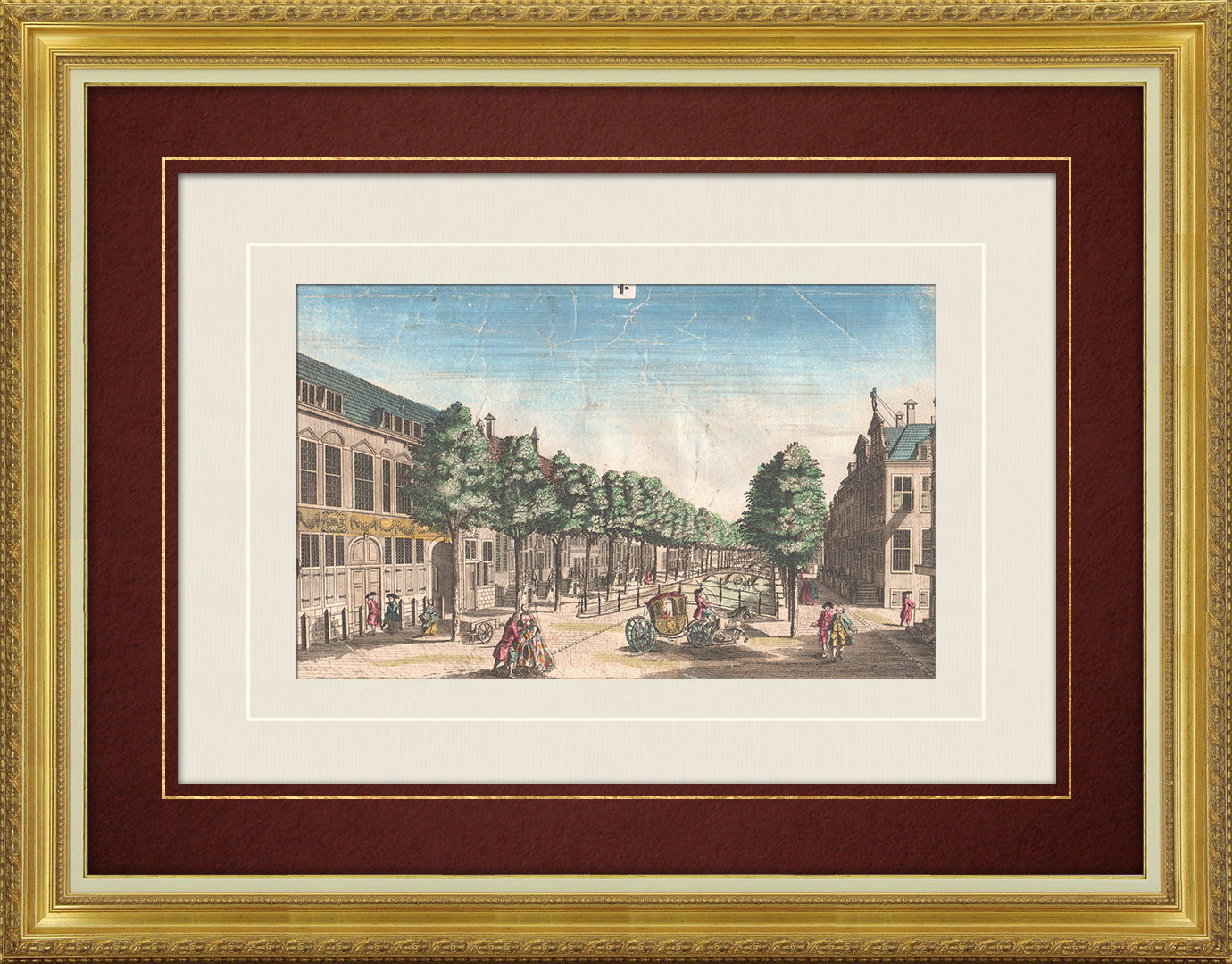 18th Century optical view in original watercolors of Prince Gracht's Castle in The Hague (Holland)