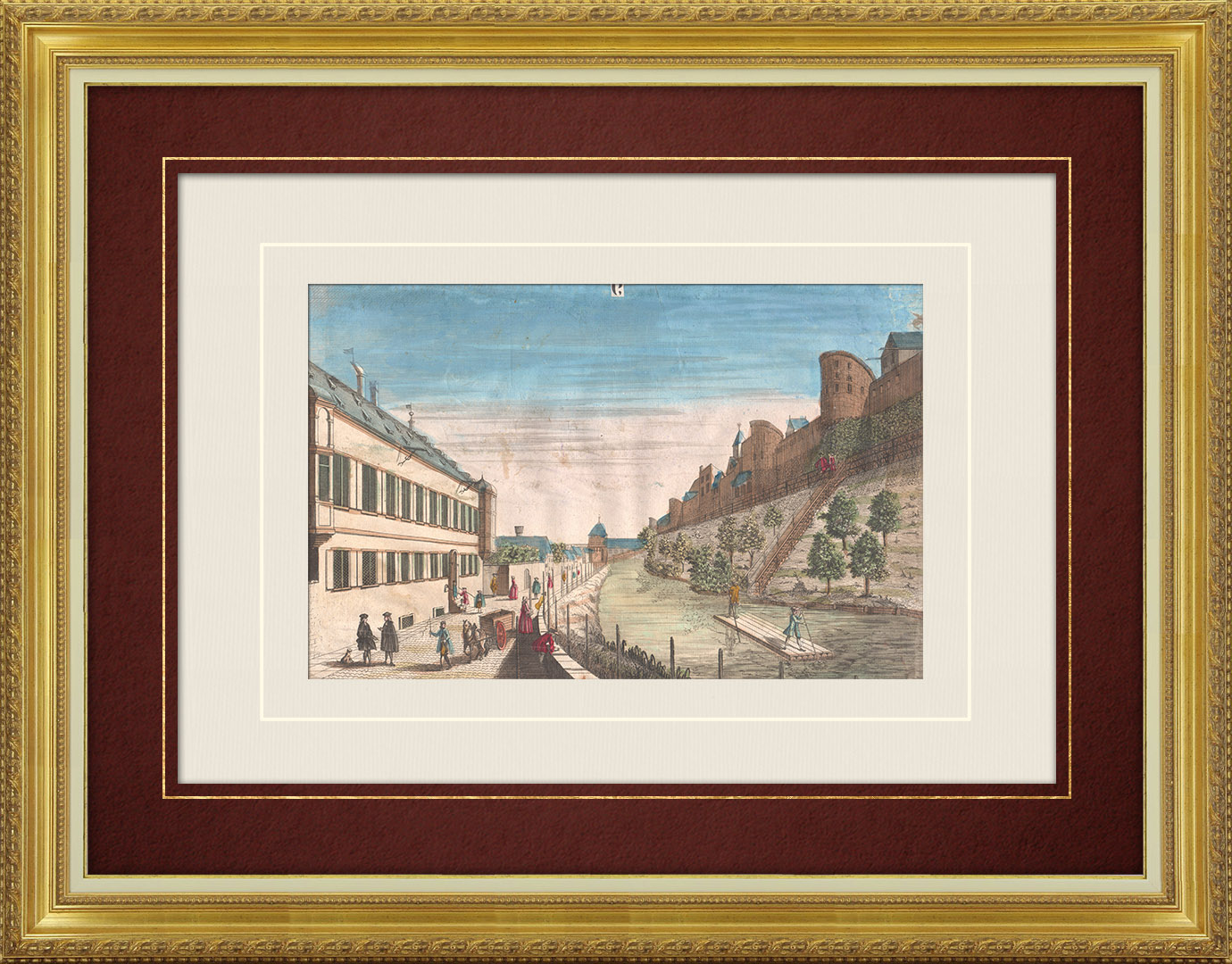 18th Century optical view in original watercolors of the Fortifications of Augsburg (Germany)