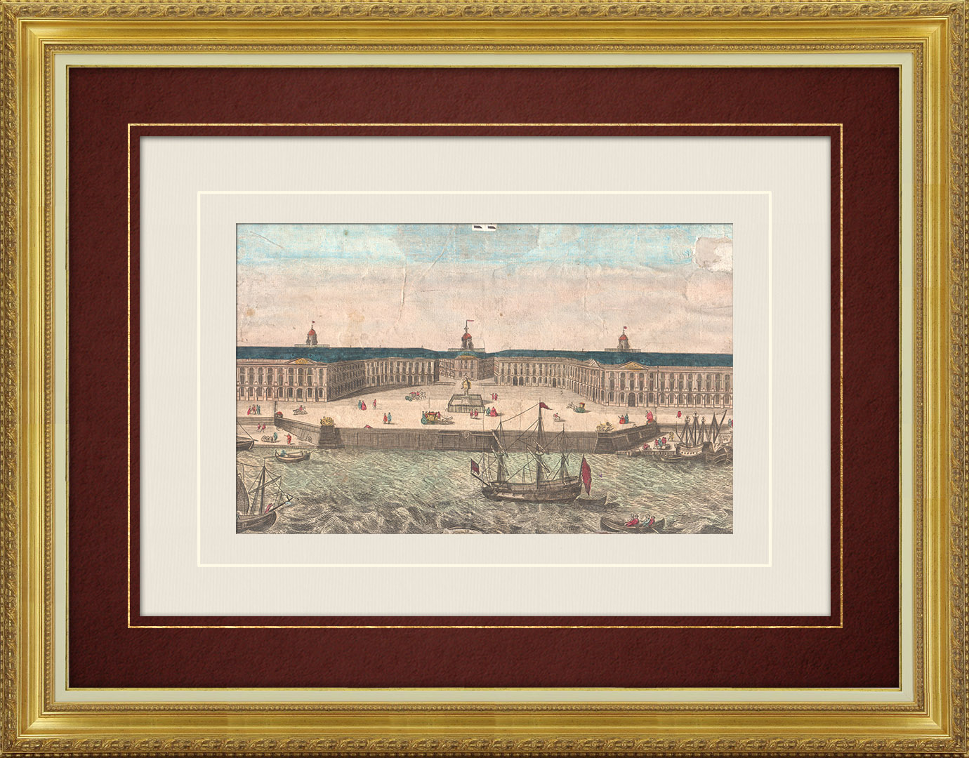 Veduta ottica del 18 secolo a colori d'epoca della Place Royale a Bordeaux (Francia)