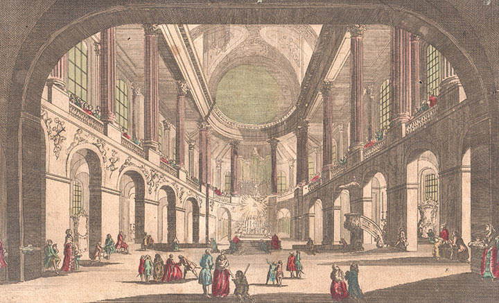 Optical view of the Chapel of the Palace of Versailles (France)