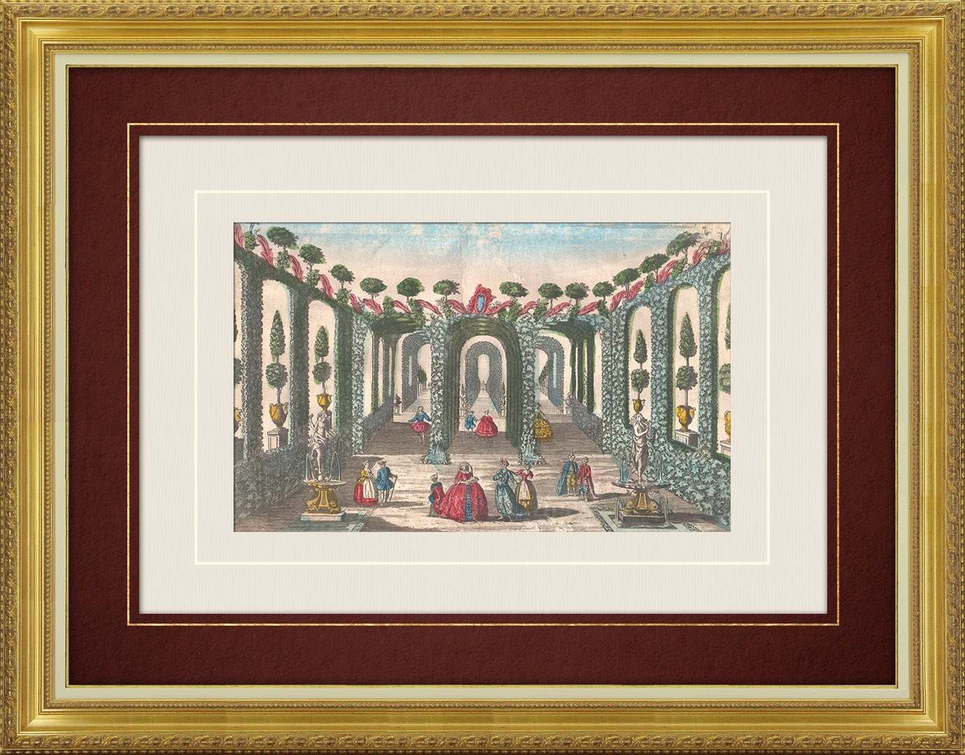 18th Century optical view in original watercolors of garden of the King of Naxos (Sicily)