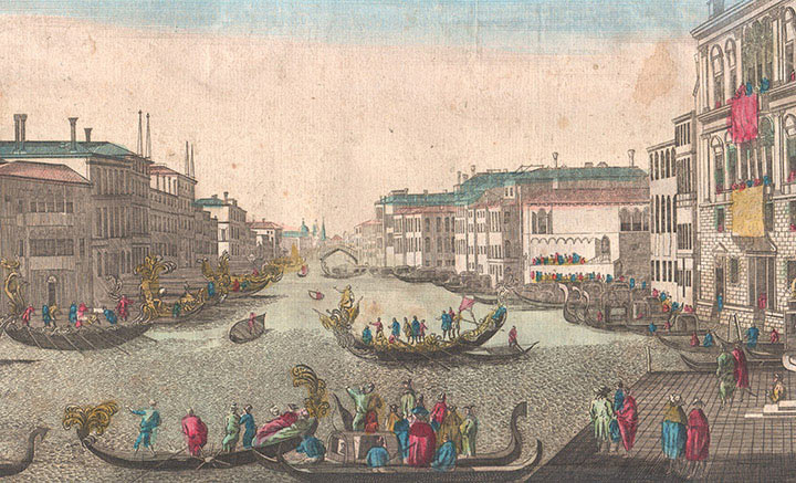 Optical view of Grand Canal at Venice (Italy)