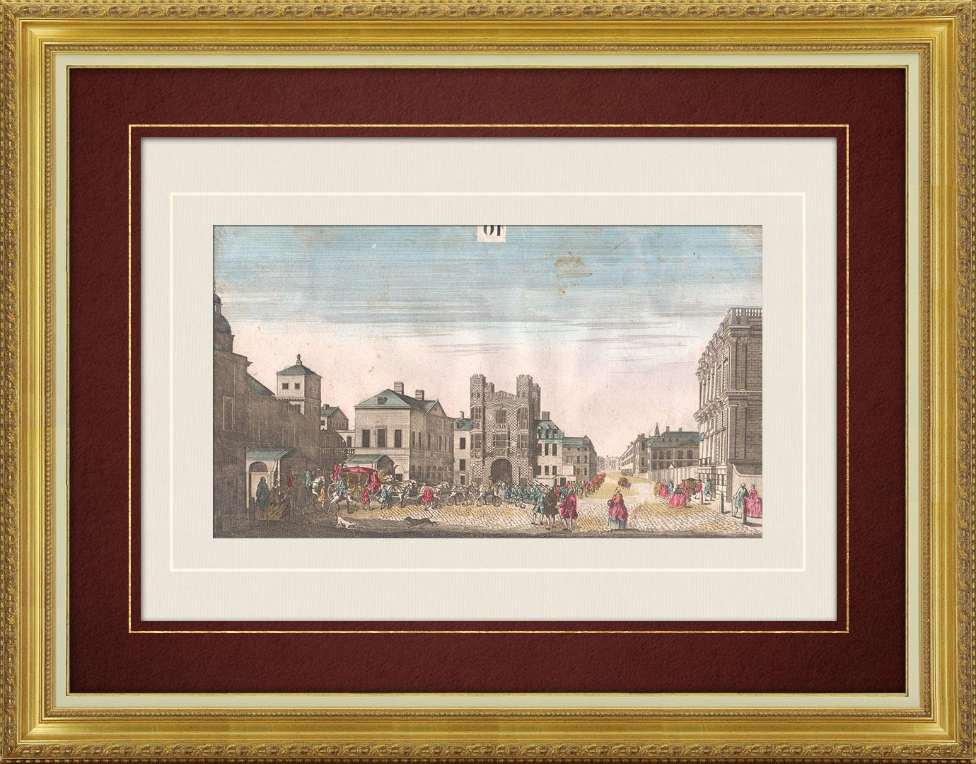 Vue d'optique du 18e siècle en coloris d'époque de l'Entrée des Horse Guards en face de la Maison des Banquets de Whitehall à Londres (Angleterre)
