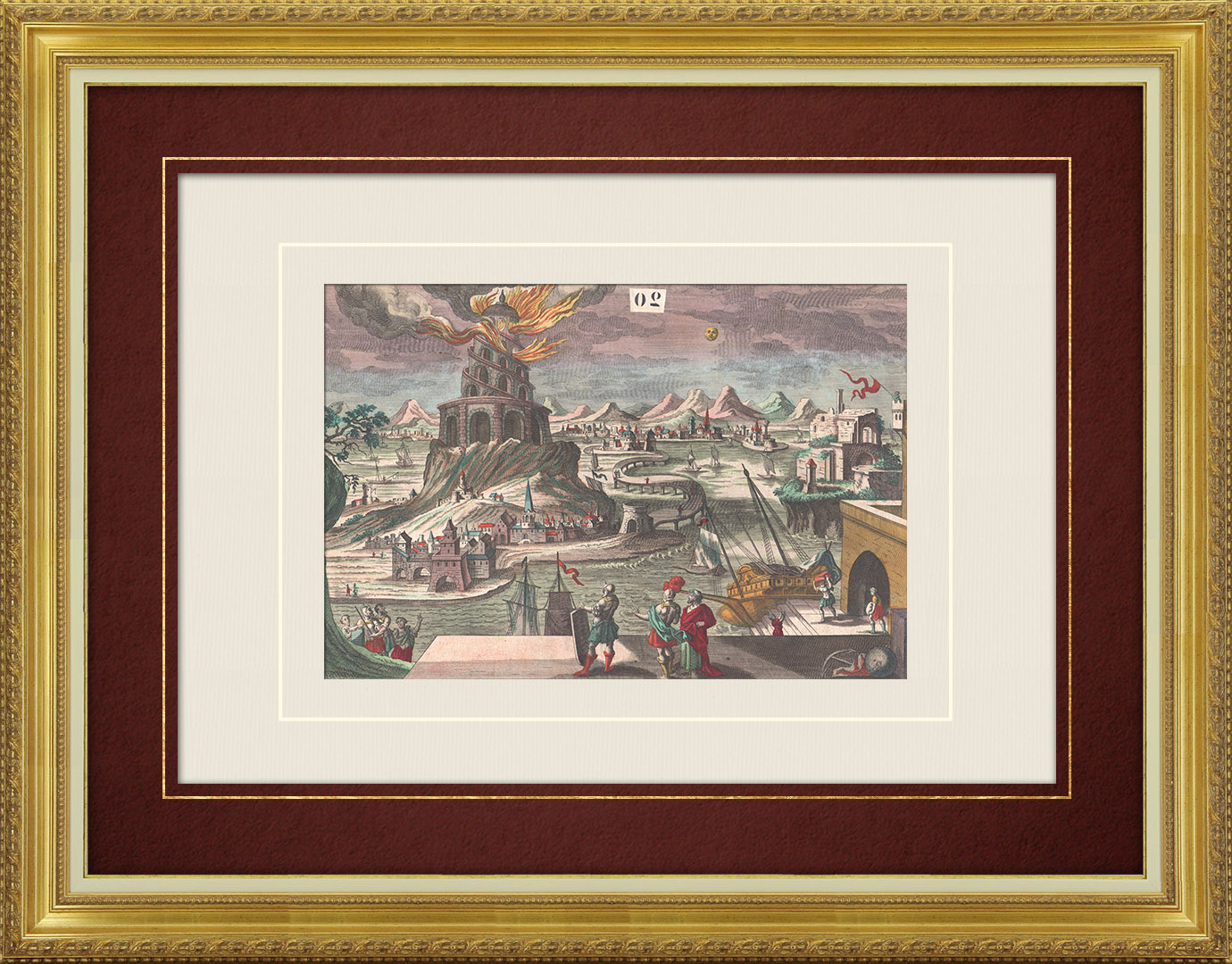 18th Century optical view in original watercolors of Lighthouse of Alexandria (Egypt)