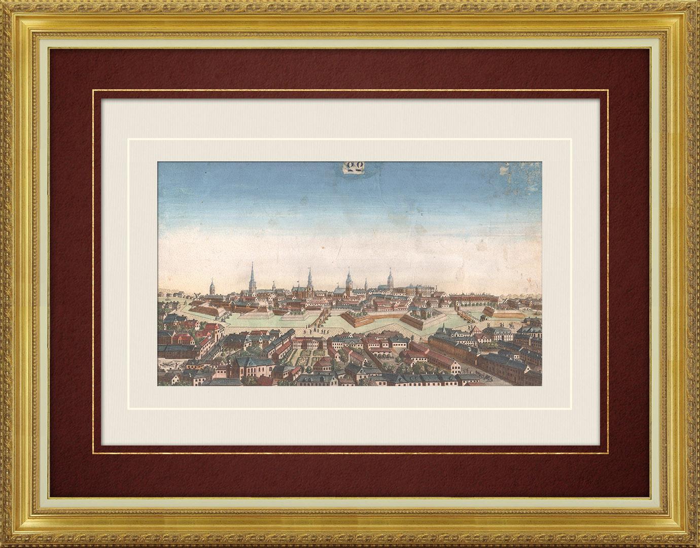 18th Century optical view in original watercolors of Berlin (Germany)
