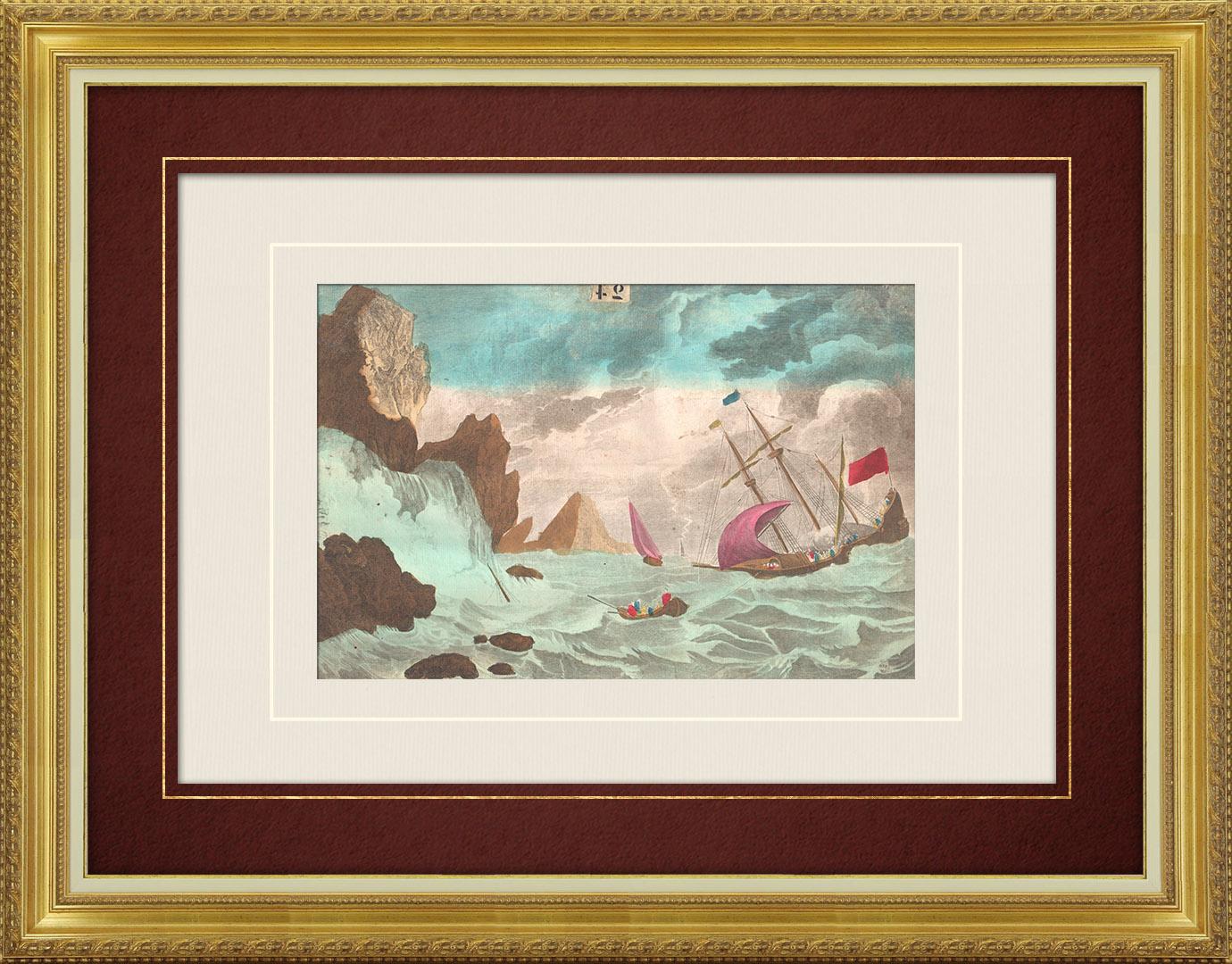 Vue d'optique du 18e siècle en coloris d'époque du Naufrage d'un voilier