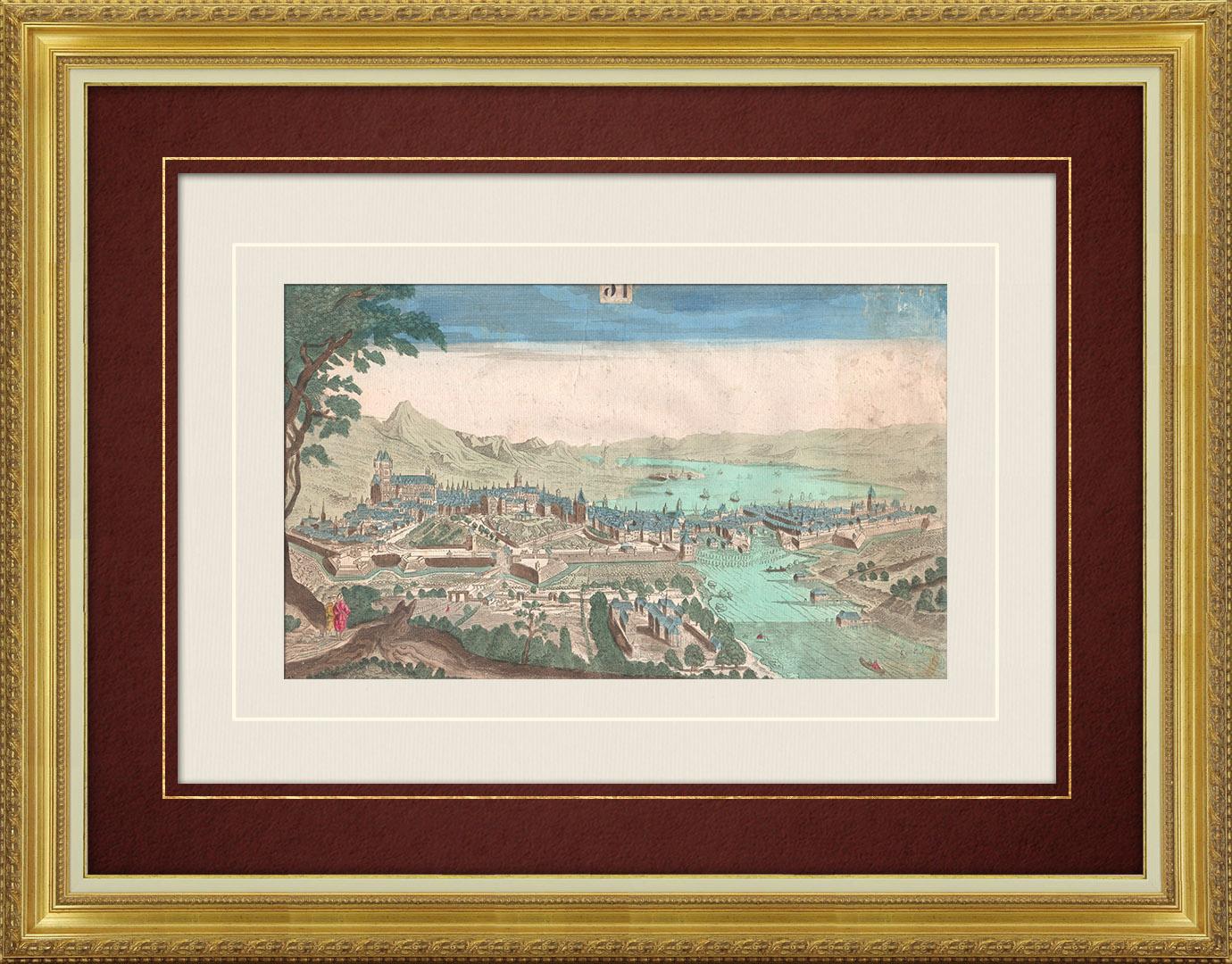 Veduta ottica del 18 secolo a colori d'epoca di Ginevra, sul Lago (Svizzera)