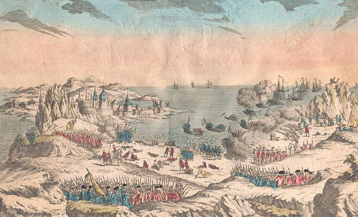 Optical view of the French attack on Newfoundland by the Chevalier De Ternay in 1762 (Canada)