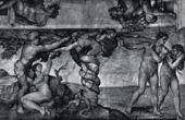 Gravure ancienne - Chapelle Sixtine - Le Péché Originel - Adam et Ève au Paradis Terrestre (Michel-Ange)