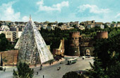 View of Rome - Italy - The Pyramid of Caius Cestius