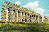 View of Rome - Italy - Aqueduct of Claudius - Aqua Claudia along the Via Appia Nuova