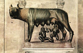 Grabado antiguo - Escultura Italiana - Antigua Roma - Loba Capitolina - Luperca - Rómulo - Remo