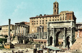 View of Rome - Italy - Ancient Rome - Roman Forum and the Temple of Saturn - Forum Romanum - Capitoline Tower