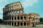 View of Rome - Italy - Flavian Amphitheater - The Colosseum or Roman Coliseum