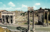 View of Rome - Italy - Forum Romanum - Via Sacra and Column of Phocas
