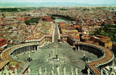 View of Rome - Italy - Saint Peter's Square - Panorama from the Dome of the Basilica of Saint Peter - St. Peter's Basilica - Vatican City
