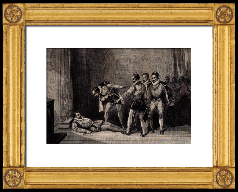 Antique Prints & Drawings | Assassination of the Duke of Guise (1519-1563) | Intaglio print | 1850