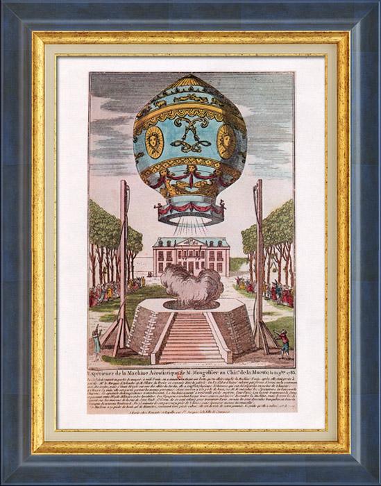 Gravures Anciennes & Dessins | Montgolfière - Ballon Dirigeable - Aérostat - Frères Montgolfier - Premier Voyage Aérien (Novembre 1783) | Planche | 1980