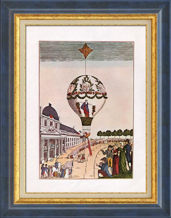Antique Prints & Drawings | Hot-air Balloon - Airship - Dirigible - Paris - Champ-de-Mars - Mme Blanchard  (1810) | Plate | 1980
