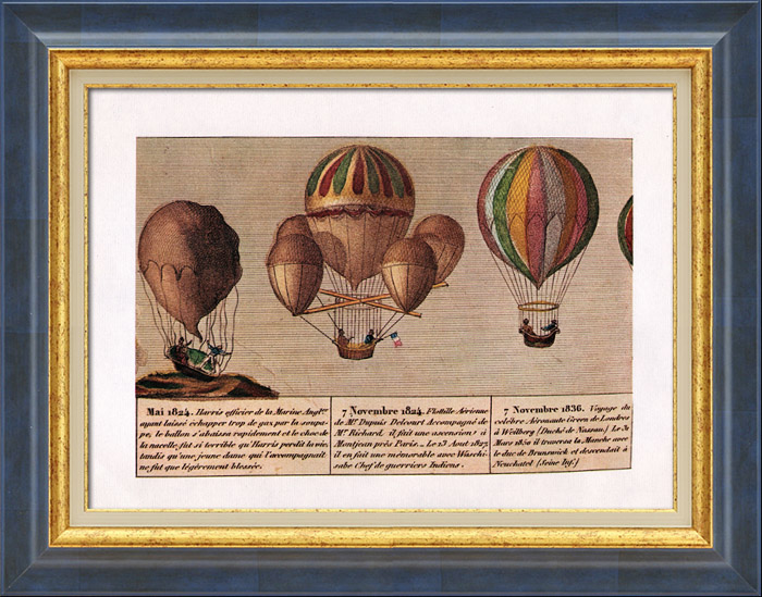 Antique Prints & Drawings   Hot-air Balloon - Airship - Dirigible - Harris - Dupuis Delcourt - Green (1824-1836)   Plate   1980