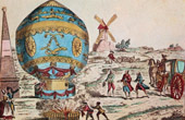 Hot-air Balloon - Airship - Dirigible - Montgolfier Brothers in Petit Gentilly - First Air Voyage (November 1783)
