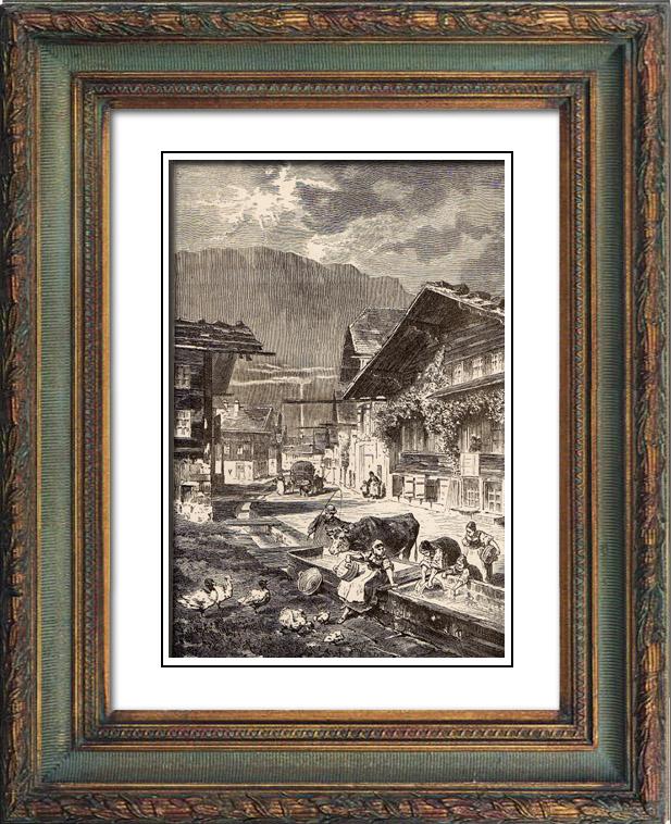 Gravures Anciennes & Dessins | Vue de Meiringen - Canton de Berne (Suisse) | Gravure sur bois | 1883