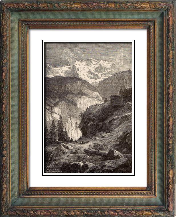 Antique Prints & Drawings | Jungfrau - Canton of Berne (Switzerland) | Wood engraving | 1883