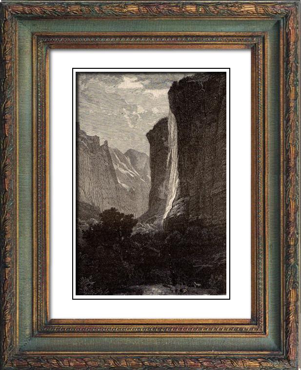 Gravures Anciennes & Dessins   Cascade - Staubbach - Canton de Berne (Suisse)   Gravure sur bois   1883