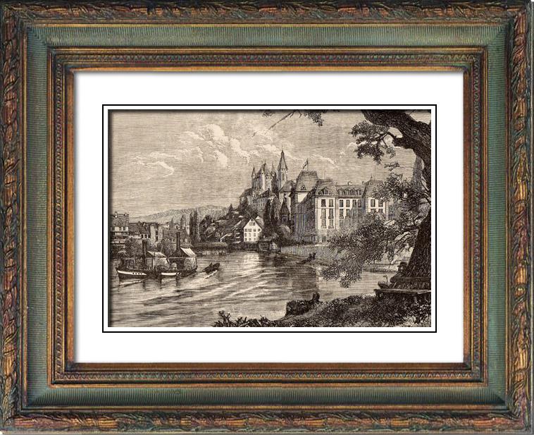 Gravures Anciennes & Dessins | Vue de Thoune - Thun - Canton de Berne (Suisse) | Gravure sur bois | 1883