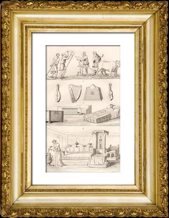 Gravures Anciennes & Dessins   Objets Anciens - Agriculture - Instruments de Musique - Meubles Anciens - 12ème Siècle (France)   Taille-douce   1845