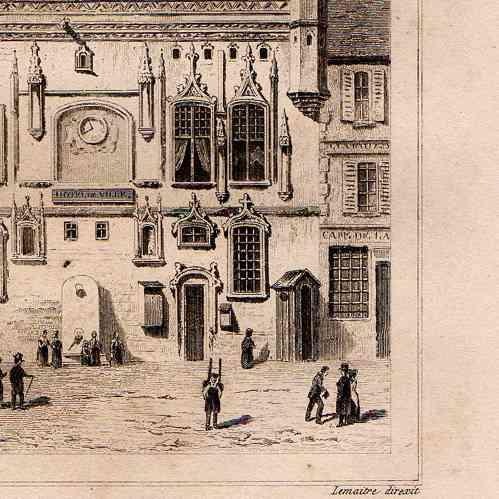 grabados antiguos ayuntamiento de compi gne francia grabado en talla dulce 1845. Black Bedroom Furniture Sets. Home Design Ideas
