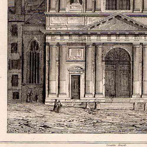 Stampe antiche monumenti storici di parigi la chiesa for Piani di piantagione storici