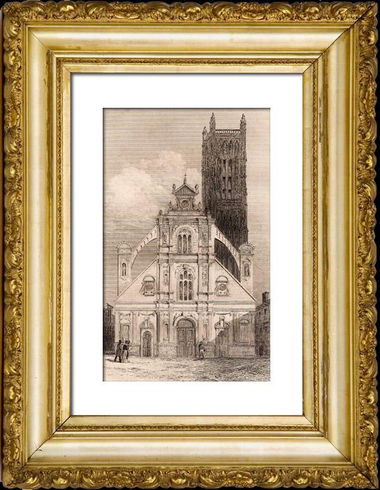 gravures anciennes eglise saint pierre auxerre france gravure en taille douce 1845. Black Bedroom Furniture Sets. Home Design Ideas