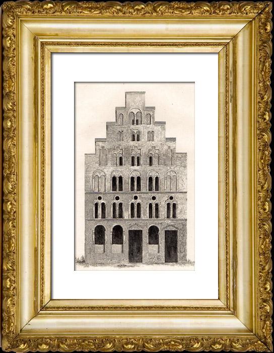 Gravures Anciennes & Dessins   Maison du 12ème Siècle à Cologne (Allemagne)   Taille-douce   1845