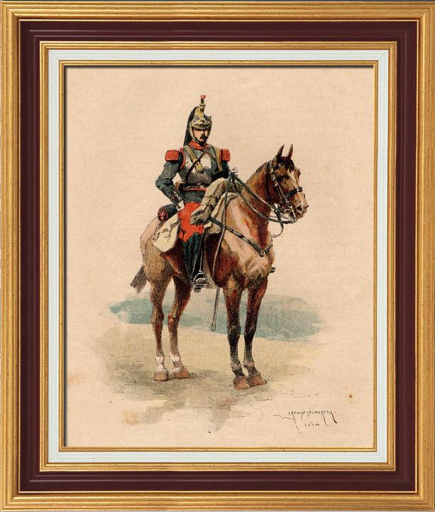 Antique Prints Cavalry Cuirassier Military Uniform