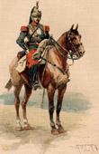 Grabado antiguo - Caballería - Coracero - Traje Militar - Ejército Francés (1884)