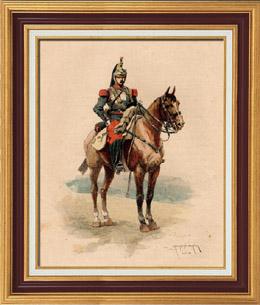 Caballería - Coracero - Traje Militar - Ejército Francés (1884)