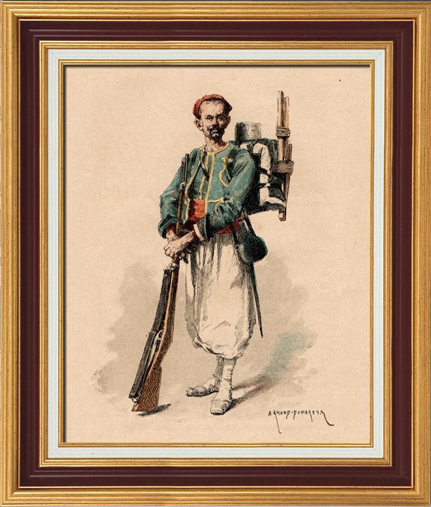Antique Prints & Drawings | Infantry - Tirailleur - Algerian Rifleman - Turcos - Military Uniform - French Army (1884) | Typogravure | 1884