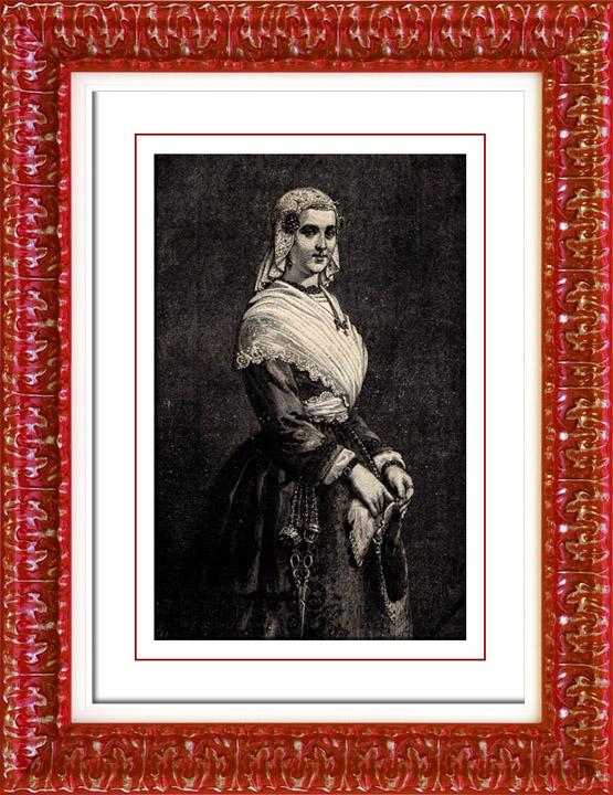 Gravures Anciennes & Dessins | Amsterdam - Frise - Costume Hollandais - Mode Hollandaise - Hollande | Gravure sur bois | 1892
