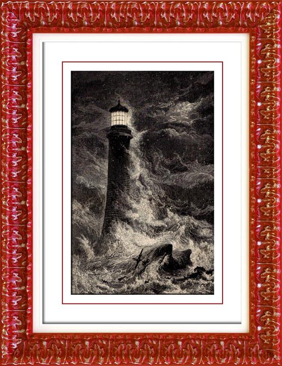 Gravures Anciennes & Dessins   Phare d'Eddystone - Plymouth (Angleterre - Grande-Bretagne)   Gravure sur bois   1892