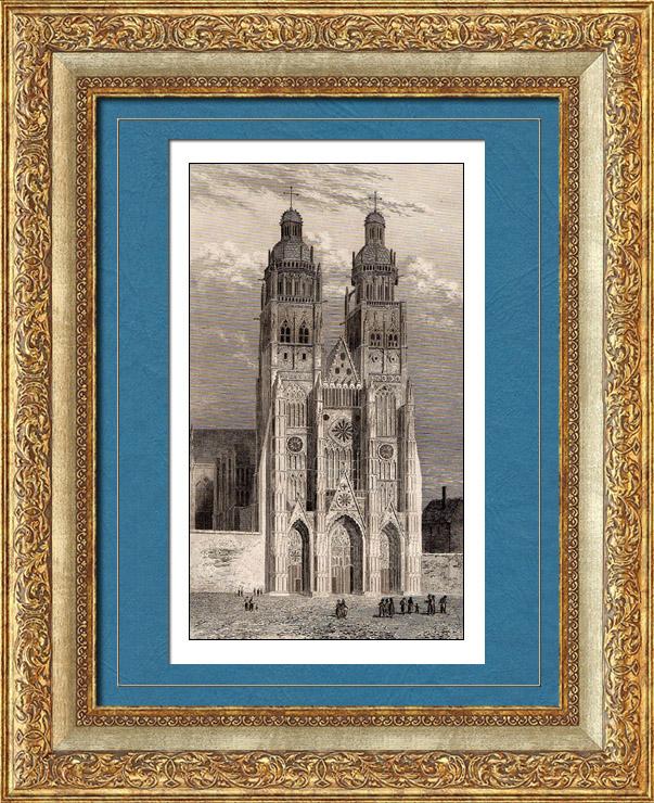 Gravures Anciennes & Dessins | Cathédrale Saint-Gatien de Tours (Indre et Loire - France)   | Taille-douce | 1845